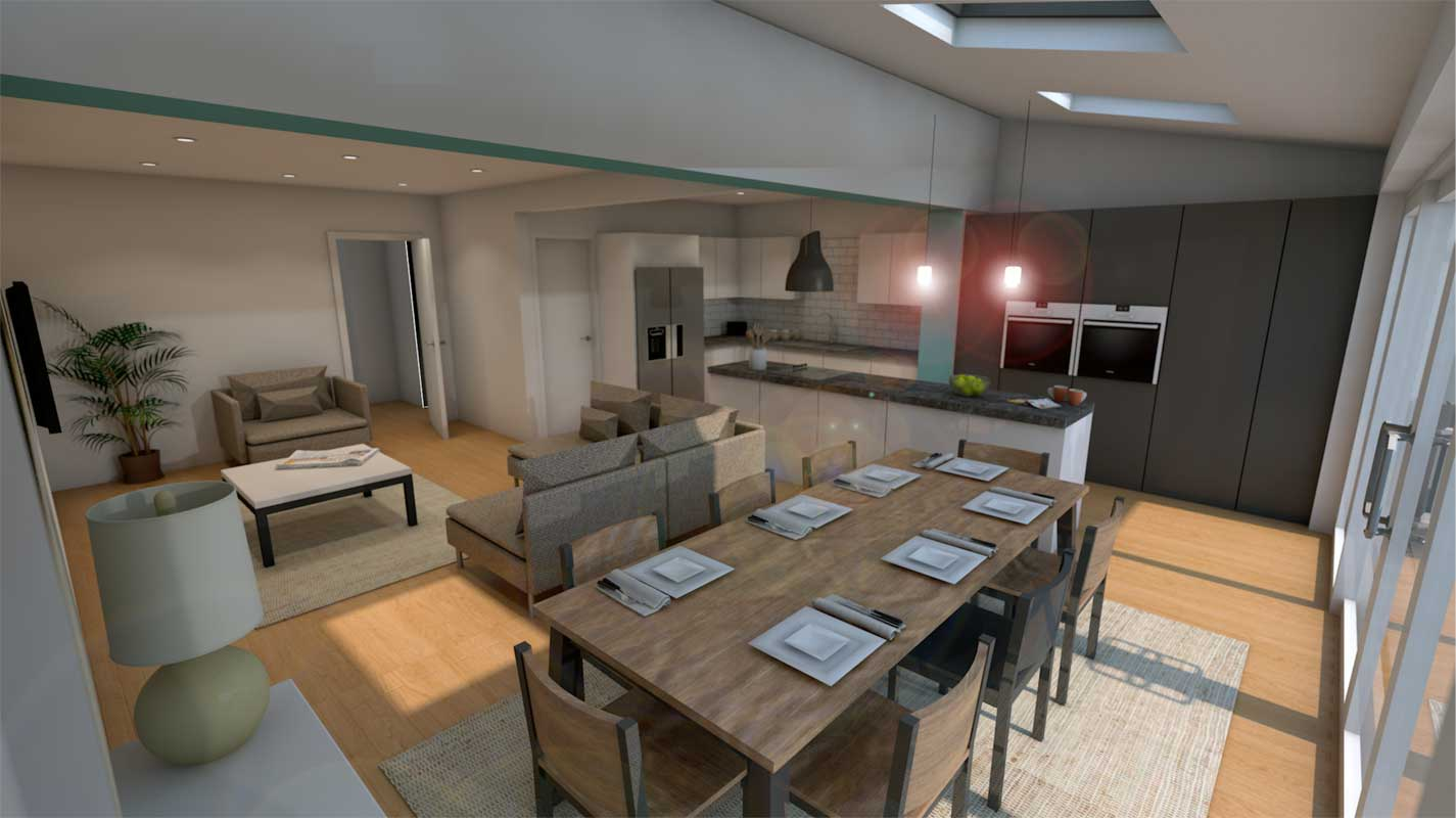 Internal 3D render of proposed extension in Meols, Wirral